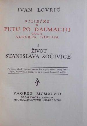 Lovrić-Bilješke o putu po Dalmaciji