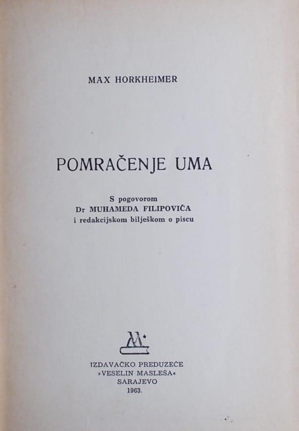 Horkheimer: Pomračenje uma