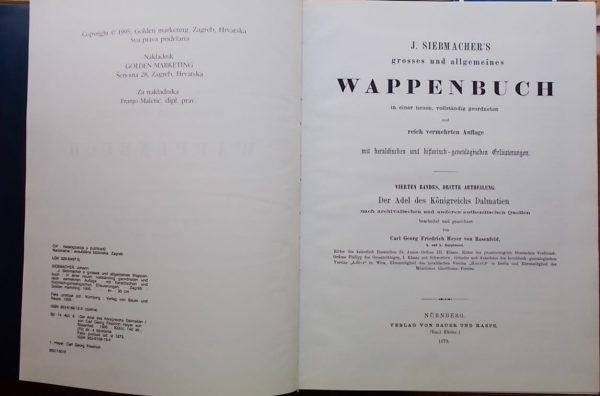 Heyer von Rosenfeld: Der Adel des Königreichs Dalmatien (1)
