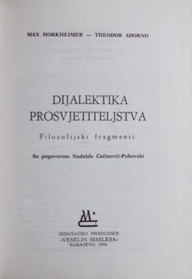 Horkheimer, Adorno: Dijalektika prosvjetiteljstva