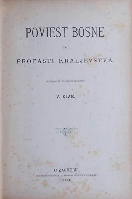Klaić: Poviest Bosne po propasti kraljevstva